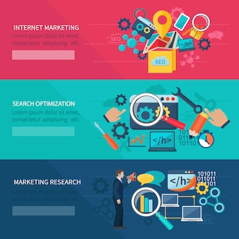 Seo marketing banner set with internet search optimization elements