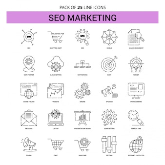 Seo marketing line icon set - 25 dashed outline style