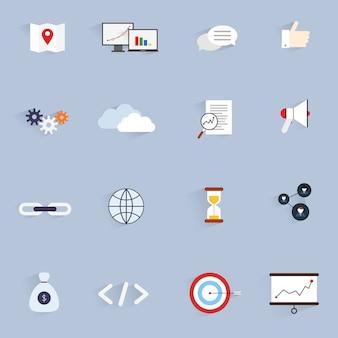 Seo marketing software optimisation analysis network icons flat set isolated vector illustration