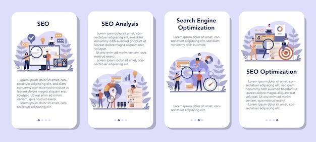 Seoモバイルアプリケーションバナーセット。マーケティング戦略としてのウェブサイトのための検索エンジン最適化のアイデア。インターネットでのwebページのプロモーション。漫画スタイルのベクトルイラスト