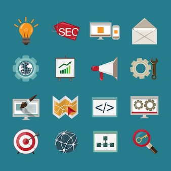 Seo mobile computer website optimization analysis icons set isolated