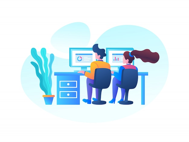 Seo office workers illustration