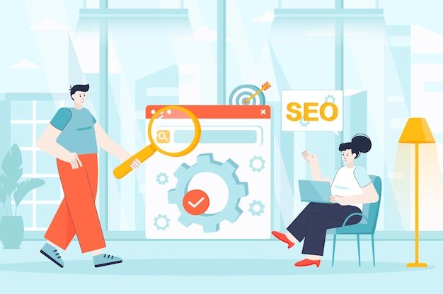 Seo optimization concept in flat design illustration of people characters for landing page