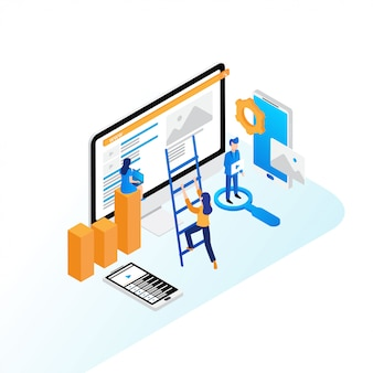 Seo optimization concept flat isometric design