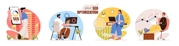Seo optimization concept scenes set search settings data analysis increase traffic marketing online advertising collection of people activities