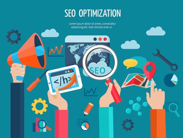 Seo optimization concept with flat human hands holding programming business symbols