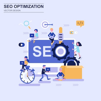 Seo optimization flat design concept blue style with decorated small people character.