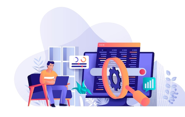 Seo optimization flat design concept illustration of people characters