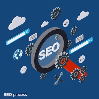 Seo optimization flat isometric vector concept illustration