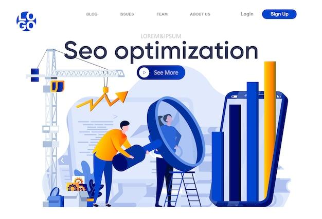 Seo оптимизация плоской целевой страницы. команда аналитиков тщательно изучая информацию с большой иллюстрацией лупы. композиция веб-страницы поисковой оптимизации с персонажами