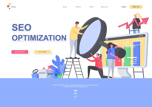 Seo optimization flat landing page template. marketing team analyzing information with magnifying glass situation. web page with people characters. search engine optimisation illustration.