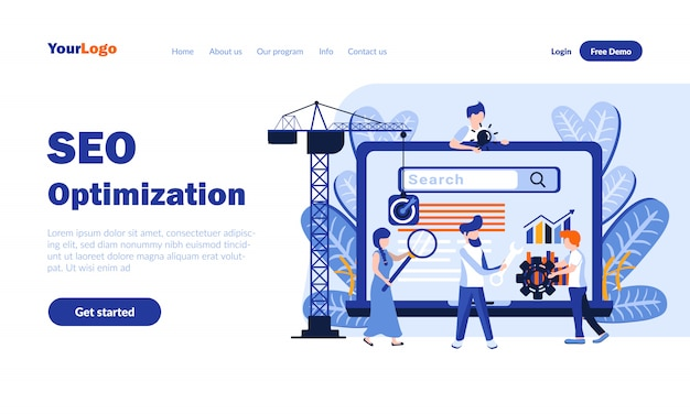 Seo optimization flat landing page  with header