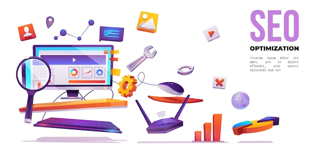 Seo optimization, internet web marketing banner