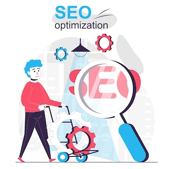 Seo optimization isolated cartoon concept man setting to improve site ranking for search