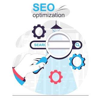 Seo optimization isolated cartoon concept settings site positions increasing traffic