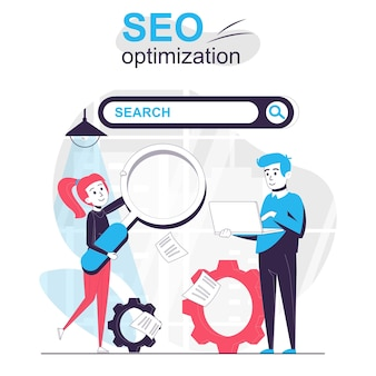 Seo optimization isolated cartoon concept team of employees setting up search engine