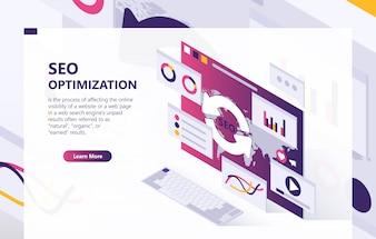 SEO optimization isometric background