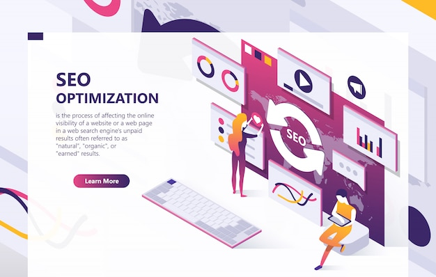 Seo optimization isometric concept banner