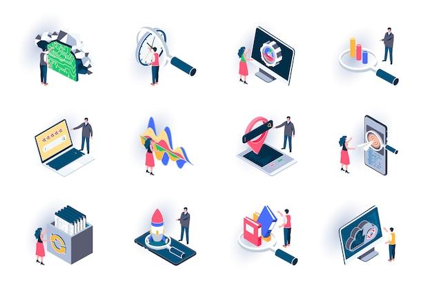 Seo最適化等尺性のアイコンを設定します。デジタルマーケティング、研究、戦略立案、トラフィック分析フラットイラスト。人の文字とseo技術3 dアイソメトリックピクトグラム。