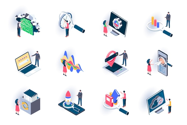 Seo optimization isometric icons set. digital marketing, research and strategy planning, traffic analysis flat illustration. seo technology 3d isometry pictograms with people characters.