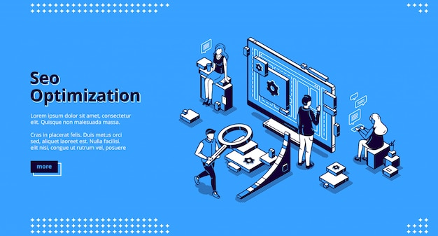 Seo optimization isometric landing page banner