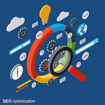 Seo optimization isometric vector concept illustration