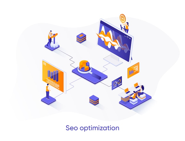 Seo optimization isometric web banner.