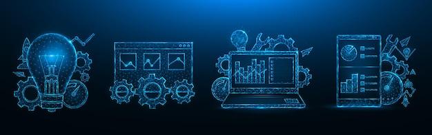 Seo最適化低ポリゴン設計。検索エンジン最適化。スマートフォン、ラップトップ、ブラウザウィンドウ、電球、歯車、速度計、統計データポリゴン
