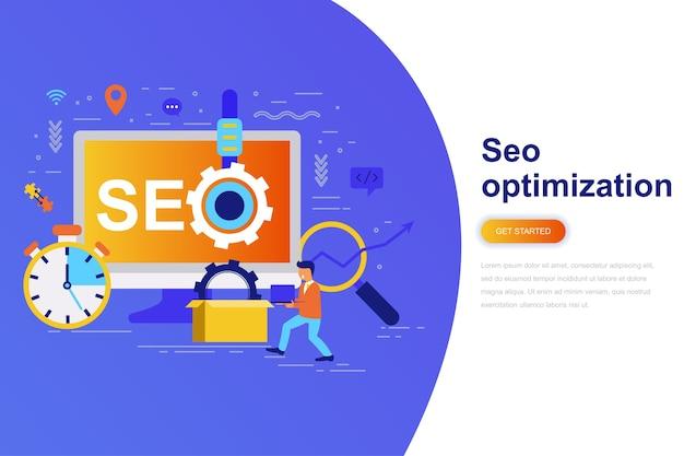 Seo optimization modern flat concept web banner