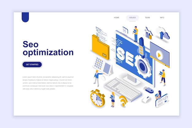 Seo optimization modern flat design isometric concept.