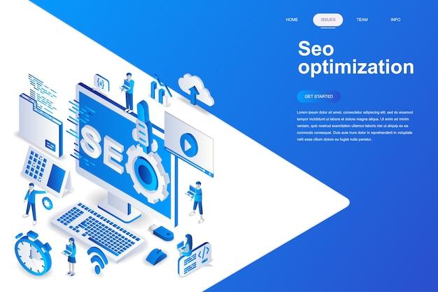 Seo optimization modern flat design isometric concept.
