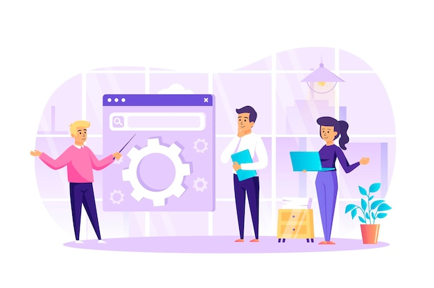 Seo optimization at office flat design concept with people characters scene