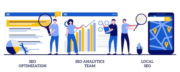 Seo 최적화, seo 분석 팀, 작은 사람들과의 로컬 seo 개념. 검색 엔진 페이지 순위 추상 그림 집합입니다. 키워드 및 링크 구축, 인터넷 홍보, 가시성 은유.