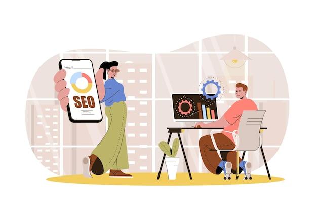 Seo optimization web concept marketers team settings search engine analyzes data