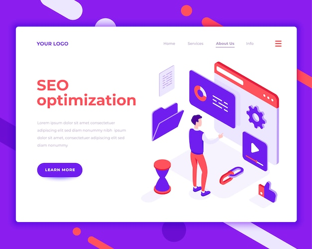 Seo optimization work people and interact with site isometric vector illustration