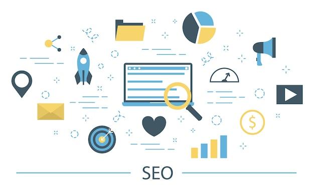 Seoまたは検索エンジン最適化の概念。マーケティング戦略とウェブサイト開発。コンテンツ、テスト、メンテナンスを最適化します。カラフルなアイコンのセットです。図