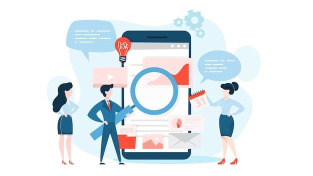 Seo 또는 검색 엔진 최적화 개념. 마케팅 전략