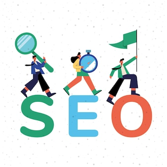 Seo and people with icons design, digital marketing ecommerce and online theme illustration
