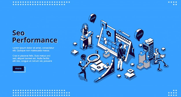 Seo performance isometric landing page banner