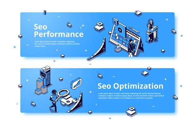 Seo performance and optimization isometric banner.