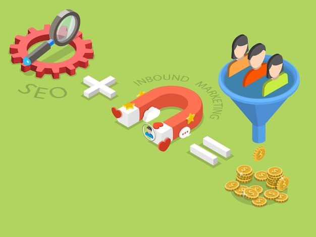 Seo плюс входящий маркетинг плоская изометрическая концепция эффективной стратегии продаж.