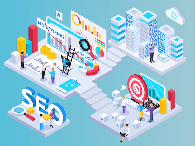 Seo project isometric composition with key words symbols