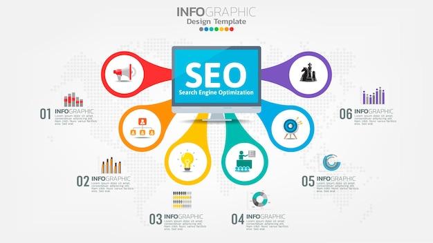 Seo поисковая оптимизация баннер веб-значок для бизнеса и маркетинга