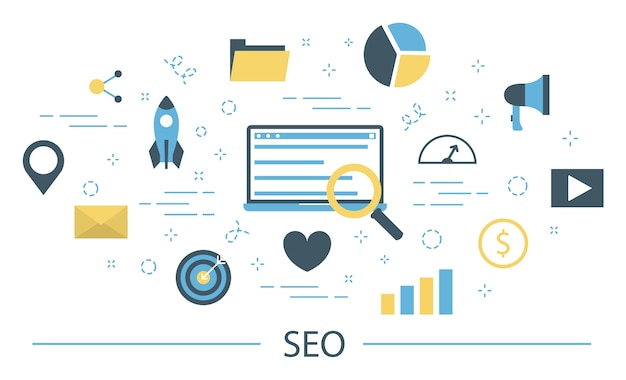 Seo or search engine optimization concept. marketing strategy and website development. optimize content, testing and maintenance. set of colorful icons.   illustration