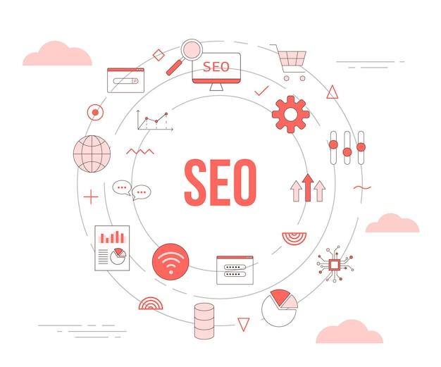 Концепция поисковой оптимизации seo с набором шаблонов с круглой круглой формы