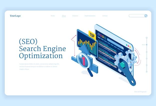 Seo поисковая оптимизация изометрической целевой страницы. технологии интернет-маркетинга и цифрового бизнес-контента. рабочий стол компьютерных устройств с шестеренками и диаграммами анализа, 3d веб-баннер
