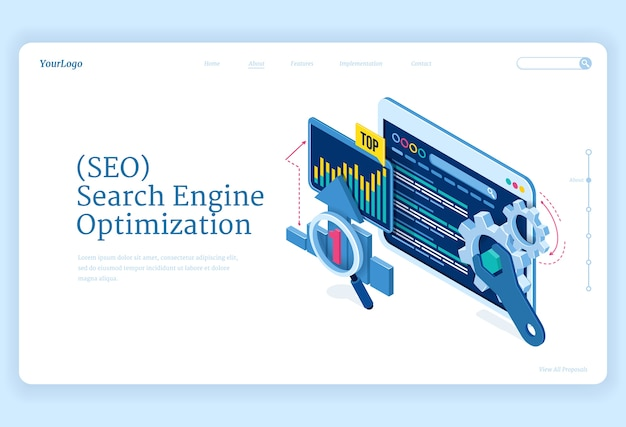 Seo search engine optimization isometric landing page. technology for internet marketing and digital business content. computer devices desktop with gears and analysis charts, 3d web banner