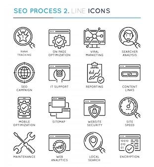 Seo search engine optimization process thin line icon set.