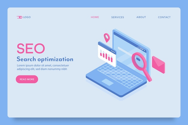 Seo, search optimization landing page