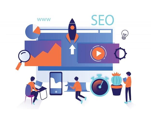 Seo search optimizationのアイソメトリック集合人を分離